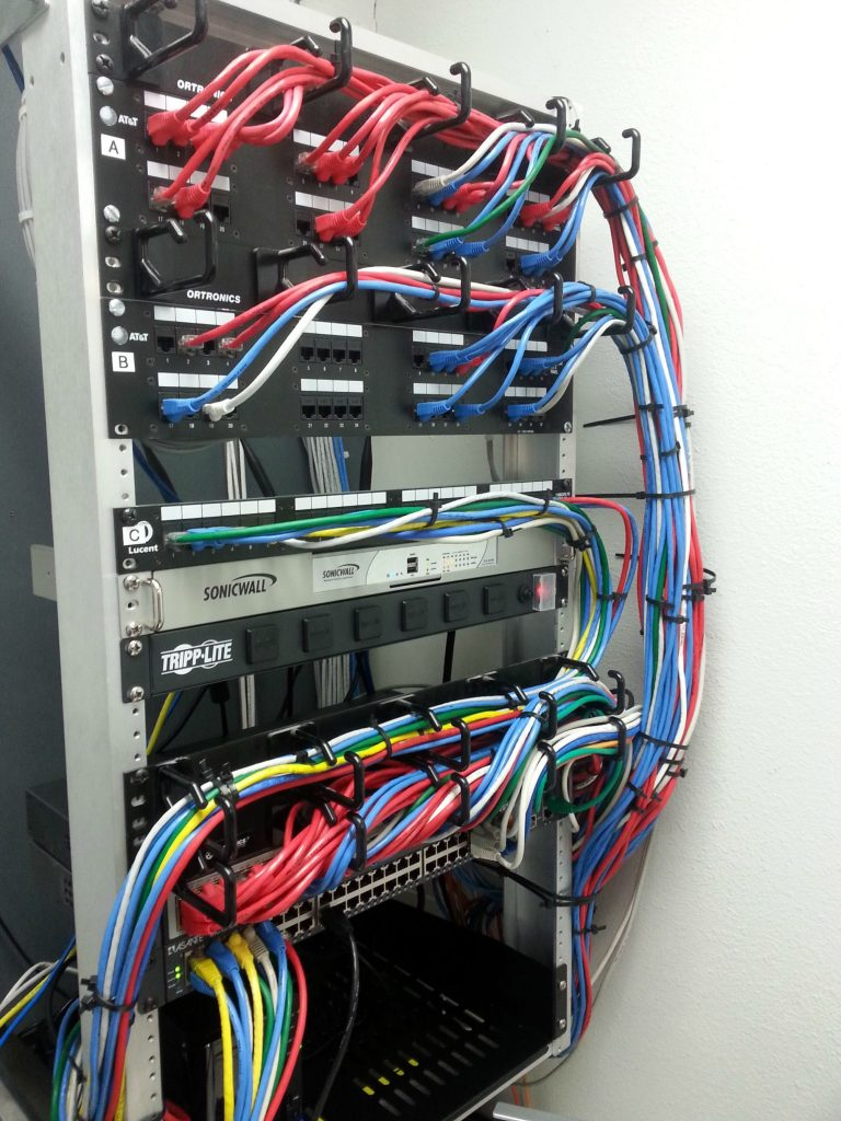 Network cabling rack with cat 6 cable being installed in the sutherland shire by an electrician